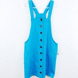 NWT Pastel Blue Button Up Overall Dress